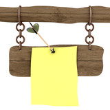 Memo attached to a board an arrow. 3D image. poster
