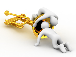 music instrument and people on white background