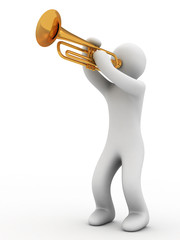 music instrument and person on white background