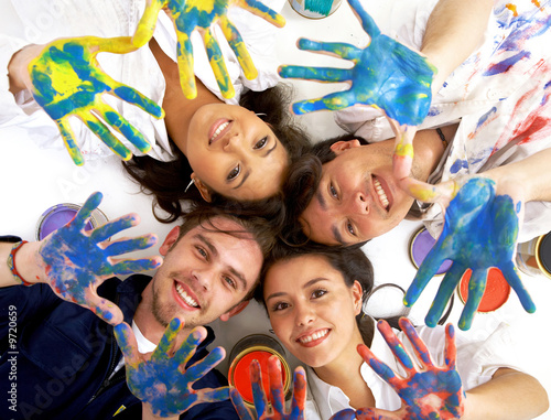 happy friends having fun with paint isolated