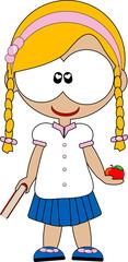 ragazza bambina a scuola con libro e mela
