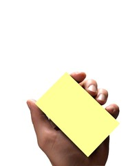 hand with notice card