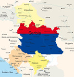 Map of Serbia country coloured by national flag poster
