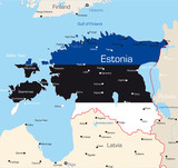 Map of Estonia country coloured by national flag poster