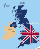 Map of Great Britain country coloured by national flag poster