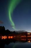 Fototapety Polarlicht Lofoten bei Vollmond