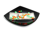 expensive chemical diet - pills on black plate and dollars poster