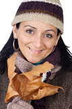 Woman sheltered for the winter a over white background poster