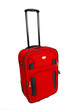 isolated red suitcase trolley on white background
