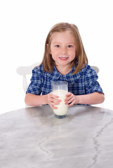 School Girl Drinking Milk