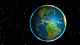 Photo realistic shining planet Earth in space - America poster