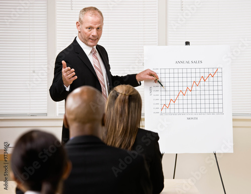Businessman explaining financial analysis chart to co-workers