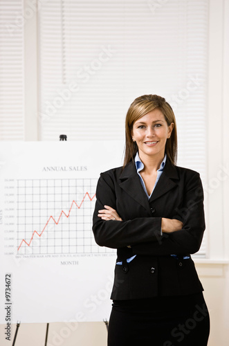 Businesswoman explaining financial analysis chart