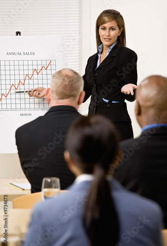 Businesswoman explaining financial analysis chart to co-workers
