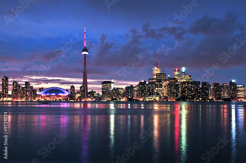 Scenic view at Toronto city waterfront skyline at night Photo by Elenathewise
