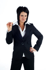 Business woman holding a cigarette