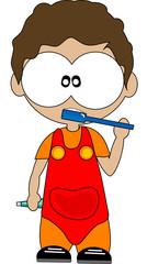 bambino lava i denti con spazzolino e dentifricio