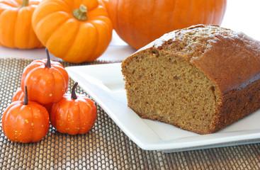 Pumpkin pound cake with pumpkins