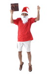 Afro-American Santa Claus Holding a gift on white . poster