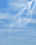 lightning against blue sky covered with fluffy clouds poster