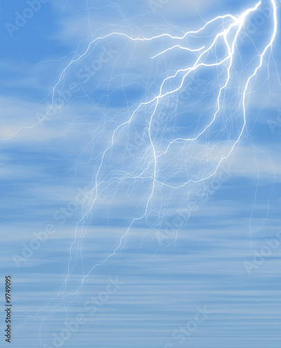 poster of lightning against blue sky covered with fluffy clouds