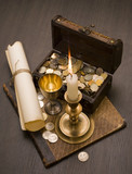 Still life of vintage objects with candle poster