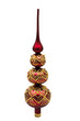 Red and gold glass Christmas ornament on white