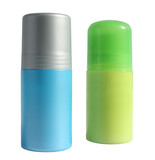 Blue and green bottles with a deodorant on a white background. poster