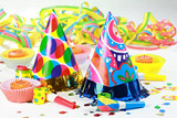 Party accessories for New Year Eve, birthday party or carnival poster