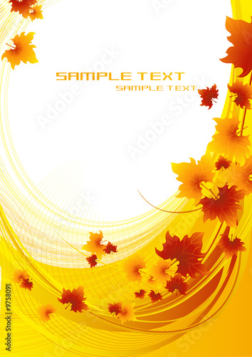 Autumnal orange background, vector illustration