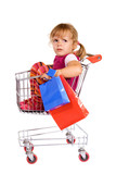 Little girl in shopping cart tired and upset - isolated poster