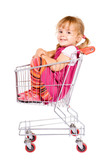 Little girl sitting in shopping cart anxious to go - isolated poster