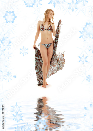walking bikini blonde girl with sarong on white sand