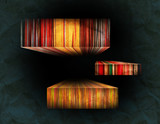 Striped Color Subjects On A Paper Background poster