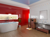Fototapety modern bathroom with a  tub (3D rendering)
