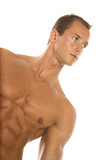 Body builder with muscular abs poster