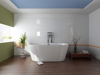 modern bathroom with a  tub (3D rendering)