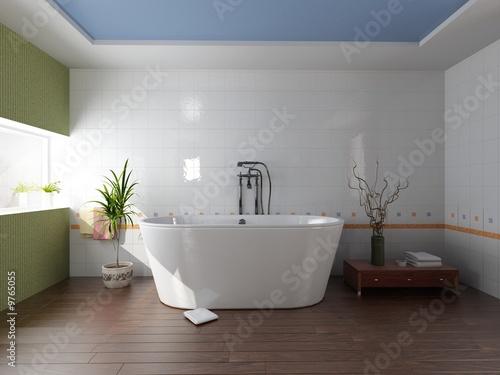 nowoczesna łazienka z wanną (renderowanie 3D)