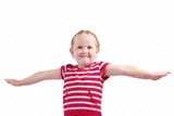 Isolated studio shot of little child pretending to fly poster