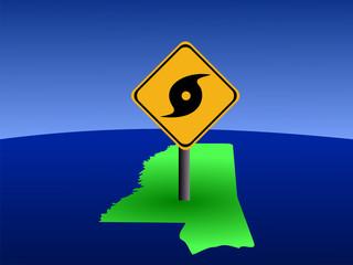 hurricane warning sign on Mississippi map illustration