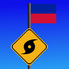 Hurricane sign and Haitian flag illustration