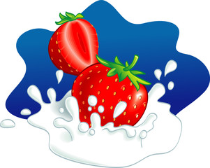 Two strawberries splashing in milk. Vector illustration