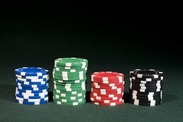 Gambling concept image with copyspace on top. Casino chips