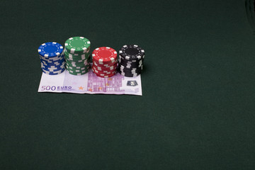 Gambling concept image with 500 euro banknote. Casino chips