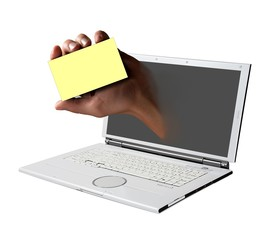 laptop and hand
