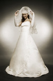 attractive young bride in full-length poster