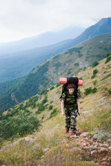 Backpacker hikes in Crimea mountains
