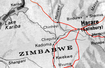 close-up map detail of Zimbabwe