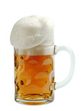 Mug of beer with overflowing foam head poster