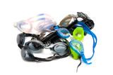 Heap of goggles on white poster